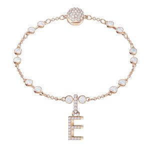 Swarovski Remix Collection Charm E, White, Rose Gold Plating