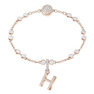 Swarovski Remix Collection Charm H, White, Rose Gold Plating