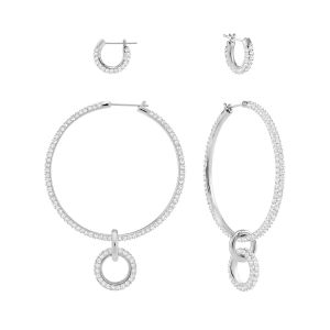 Swarovski Stone Pierced Earrings Set, White, Rhodium Plating