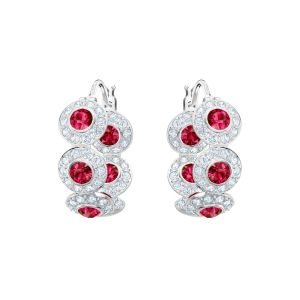Swarovski Angelic Hoop Pierced Earrings, Red, Rhodium Plating
