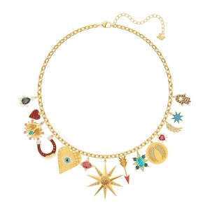 Swarovski Lucky Goddess Charms Necklace, Multi-colored, Gold Plating