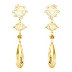 Swarovski Olive Pierced Earrings, Multi-coloured, Gold plating