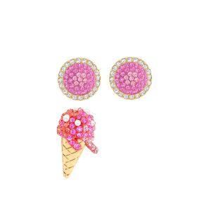 Swarovski No Regrets Ice Cream Pierced Earrings, Multi-Coloured, Gold Plating