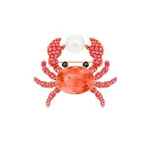 Swarovski Ocean Crab Brooch, Multi-Coloured, Rose Gold Plating