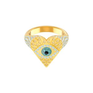 Swarovski Lucky Goddess Heart Motif Ring, Gold Plating