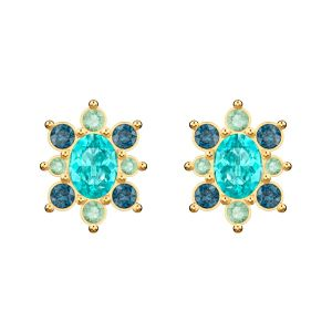 Swarovski Lucky Goddess Pierced Earrings, Multi-colored, Gold Plating