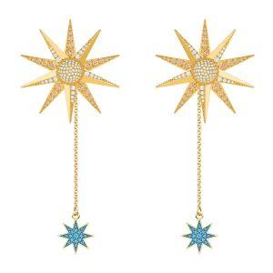 Swarovski Lucky Goddess Drop Earrings, Blue, Gold Plating