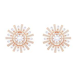 Swarovski Sunshine Clip Earrings - White - Rose Gold Plated