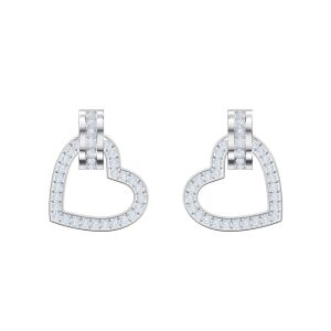 Swarovski Lovely Pierced Earrings, White, Rhodium Plating