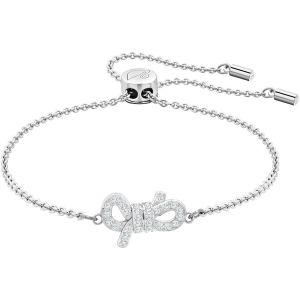 Swarovski Lifelong Bow Bracelet, White, Rhodium Plating
