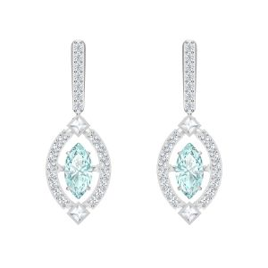 Swarovski Sparkling Dance Pierced Earrings, Blue, Rhodium Plating