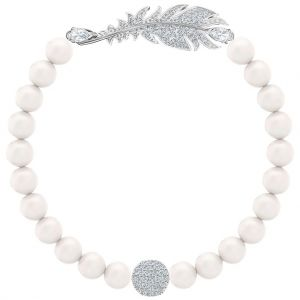Swarovski Nice Medium Pearl White Bracelet, Rhodium Plating