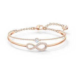 Swarovski Infinity Bangle and Chain Bracelet - Rose-Gold Plated