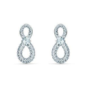 Swarovski Infinity Pierced Earrings - Rhodium Plated