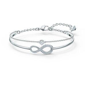 Swarovski Infinity Bangle Chain - Rhodium Plated