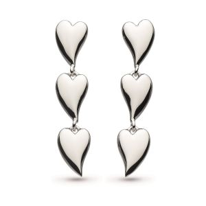 Kit Heath Desire Kiss Rhodium Plate Linking Hearts Stud Drop Earrings
