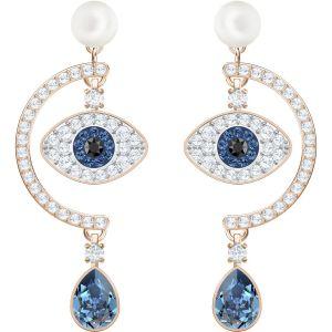 Swarovski Duo Evil Eye Pierced Earrings, Multi-Coloured, Rose Gold Plating