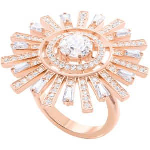 Swarovski Sunshine Cocktail Ring, White, Rose Gold Plating