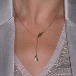 Kit Heath Blossom Eden Slider Leaf Gold Plate Lariat Necklace