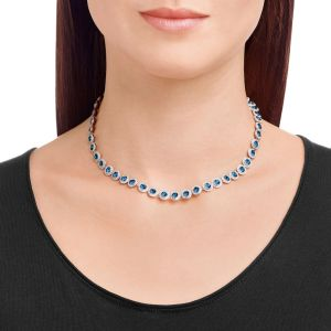 Swarovski Angelic Necklace, Blue, Rhodium Plated