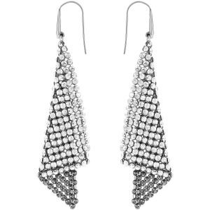 Swarovski Fit Pierced Earrings, Grey, Rhodium plating