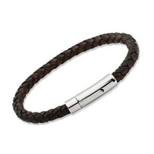 Unique & Co Mens Dark Brown Leather Bracelet, Stainless Steel Clasp