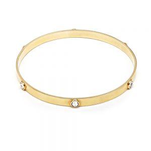 Annie Haak Samara Swarovski Gold Bangle, Clear Crystal - Medium