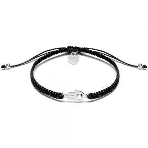 Annie Haak Fatima's Hand Silver Friendship Bracelet - Black