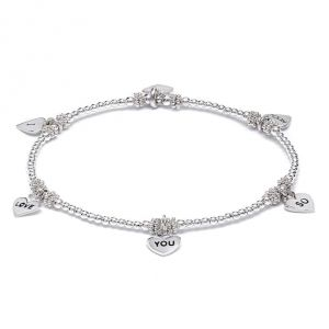 Annie Haak I Love You So Much Heart Silver Charm Bracelet