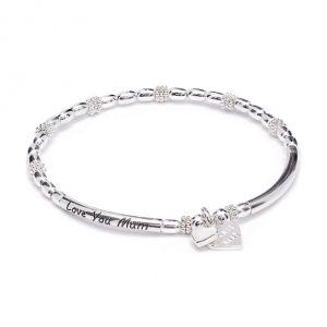 Annie Haak Love You Mum Silver Charm Bracelet - Boxed Heart