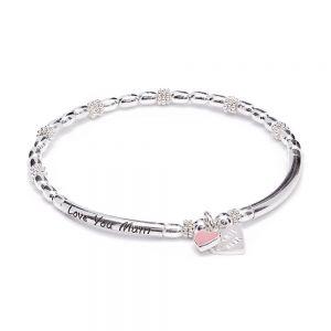 Annie Haak Teeny Santeenie Silver Charm Bracelet - Pink Enamel Flower