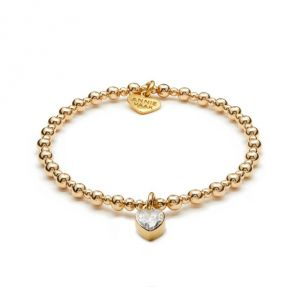 Annie Haak Mini Orchid Gold Charm Bracelet - Crystal Heart
