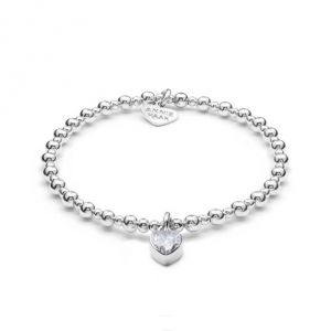 Annie Haak Mini Orchid Silver Charm Bracelet - Crystal Heart