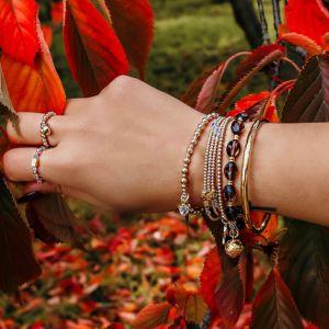 Annie Haak Mini Orchid Gold Charm Bracelet - Crystal Heart