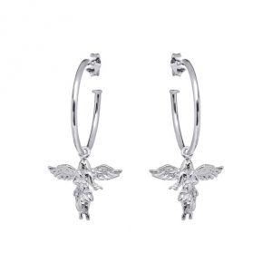 Annie Haak My Guardian Angel Silver Hoop Earrings