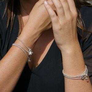 Annie Haak Santeenie Silver Crystal Teardrop Charm Bracelet