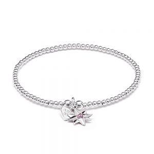 Annie Haak Santeenie Silver Charm Bracelet - Pink Twilight Star