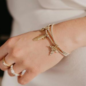 Annie Haak Santeenie Gold Feather Charm Bracelet