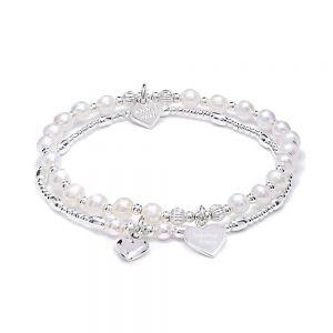 Annie Haak Tiara Dua Silver and Pearl Charm Bracelet Set