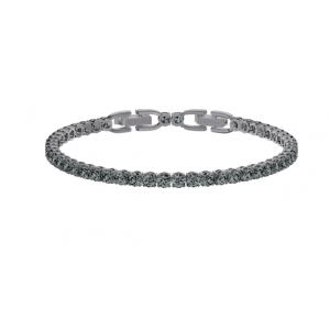 Swarovski Tennis Deluxe Bracelet, Black, Ruthenium Plating