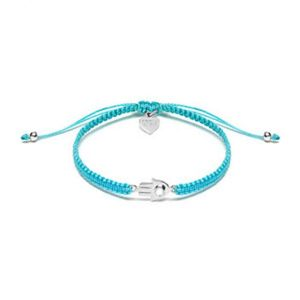 Fatima's Hand Silver Friendship Bracelet – Turquoise