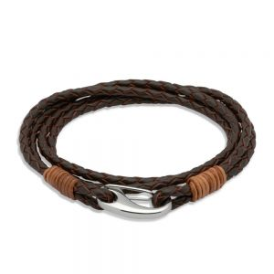 Unique & Co Brown Leather Multi-Strand Steel Clasp Bracelet