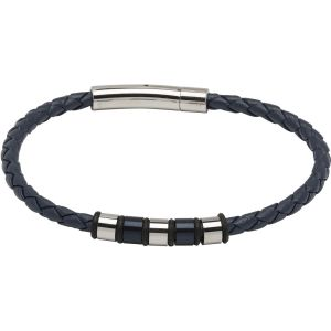 Unique and Co Men's Leather Bracelet, Blue with Steel Elements
