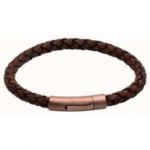 Unique and Co Mens Dark Brown Braided Leather and Rose Gold Steel Clasp Bracelet