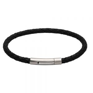 Unique and Co Men's Stainless Steel Matte Polished Black Leather Bracelet
