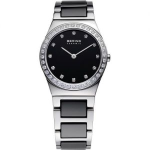 Bering Ladies Stainless Steel Silver and Black Ceramic Watch