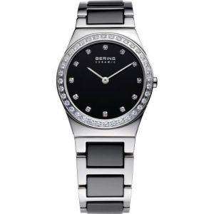 Bering Ladies Stainless Steel Silver and Black Ceramic Watch