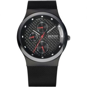 Bering Men's Black Milanese Bracelet Watch