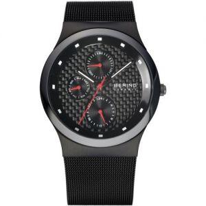 Bering Men's Black Milanese Bracelet Watch