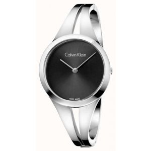 Calvin Klein Ladies Addict Bangle Watch, Silver and Black Tone
